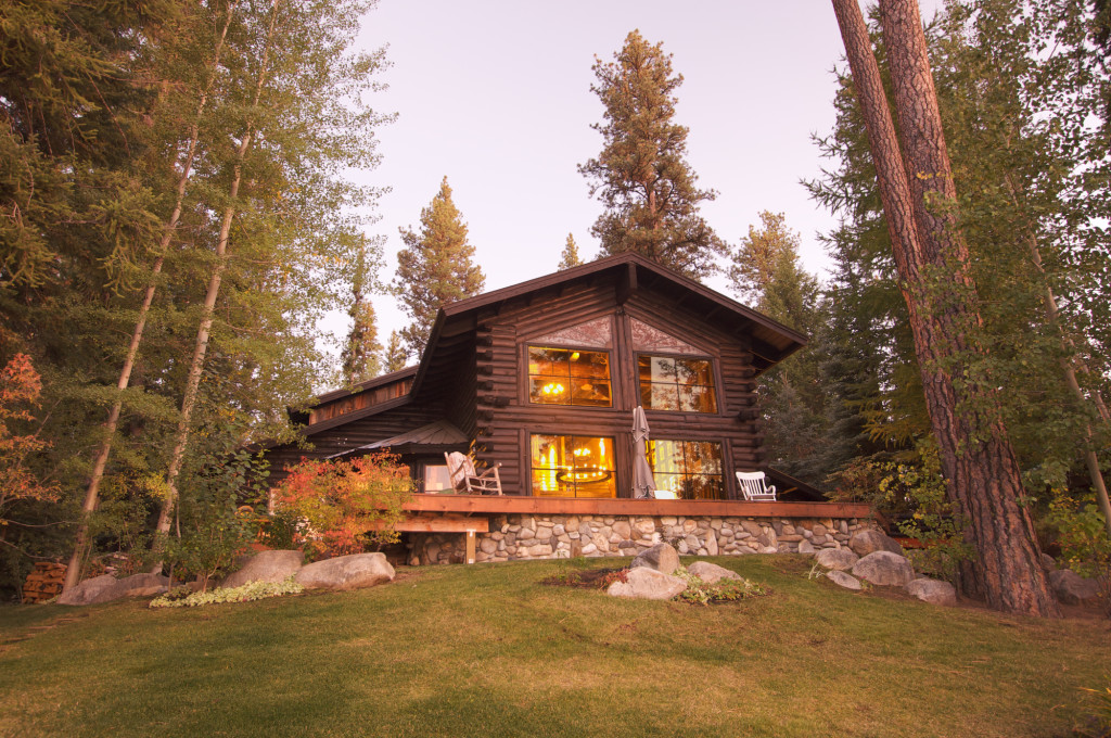 Beautiful Log Cabin Exterior Among Pine Trees