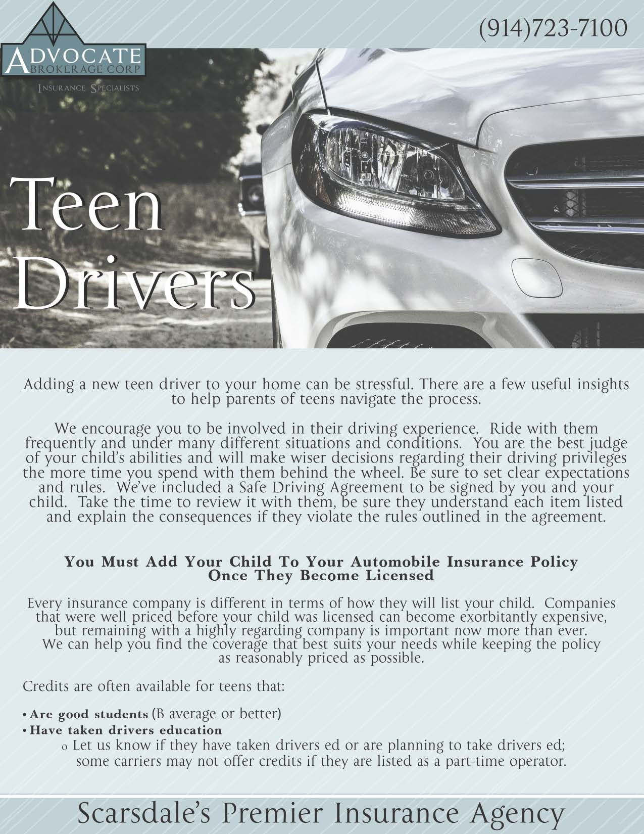 Teen Drivers Guide Scarsdale NY Scarsdale Premier Insurance